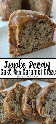 Apple Pecan Cake with Caramel Glaze is a delicious cake loaded with apples, pecans and topped with a caramel glaze. Apple Pecan Cake with Caramel Glaze is a delicious cake loaded with apples, pecans and topped with a caramel glaze. Great Desserts, Köstliche Desserts, Raspberry Desserts, Fall Dessert Recipes, Candy Recipes, Holiday Recipes, Food Cakes, Cupcake Cakes, Cupcakes