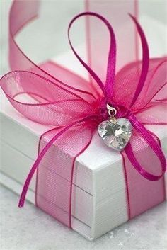 Cute Pink Organza Ribbon!!! Bebe'!!! Elegant gift presentation with jeweled heart!!!
