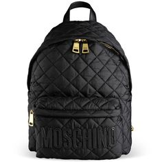 Moschino Faux leather-trimmed quilted shell backpack featuring ... : black quilted rucksack - Adamdwight.com