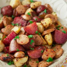 .com : Roasted Potatoes With Apples, Sausage And Maple Mustard Glaze ...