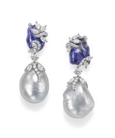 Raise your style game with pretty pearls - Mikimoto Hyacinthia #arrings with baroque South Sea cultured pearls, tanzanite and diamonds.