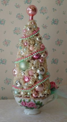 Bottle Brush Christmas Tree w/ Pink Roses and Mint by IllusiveSwan, $52.00