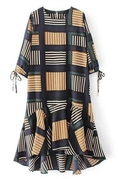 Chic Babe! Free shipping&easy return Now! This striped printing dress is detailed with tie at cuff, 3/4 sleeve&high low ruffle bottom! So cute&cozy at Cupshe.com