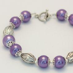 Purple Glass Pearl Bracelet #craftfest