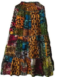 Handmade African Patch Patch Batik Long Skirt (6 count) - Wholesale only