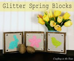 Crafting in the Rain: Glitter Spring Blocks- but do halloween silhouettes or Christmas nativity silhouettes