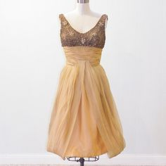 Vintage 50s Party Dress 1950s Gold Organza Prom by daisyandstella, $200.00