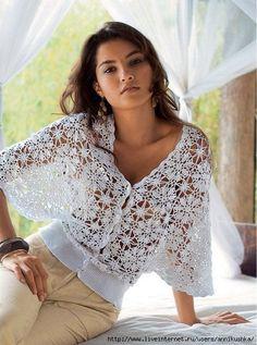 New Woman's Crochet Patterns Part 36 - Beautiful Crochet Patterns and Knitting Patterns T-shirt Au Crochet, Cardigan Au Crochet, Beau Crochet, Pull Crochet, Mode Crochet, Crochet Coat, Crochet Shirt, Crochet Jacket, Irish Crochet