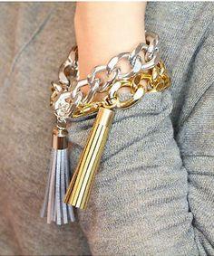 Le Petite Coco Metallic Couture Tassel Bracelet