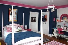 Navy and pink girl's room!