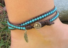 Double Leather Wrap Turquoise Beaded Anklet by jessnryder on Etsy