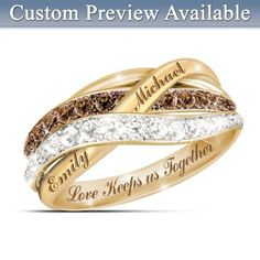 Solid sterling silver ring with 18K-gold plating sparkles with 12 mocha diamonds and 12 white diamonds. Optional engraving of 2 names. With gift box.