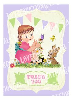 Vintage Spring Garden Girl Bunny Bird Flowers by lovecreationgal, $5.00