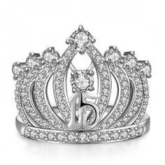 Amazing Crown-shaped Round Cut CZ Inlaid 925 Sterling Silver Engagement Ring