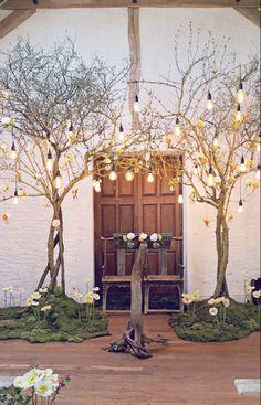 Un décor de cérémonie végétal, avec arche en branches, lumières fleurs et mousse