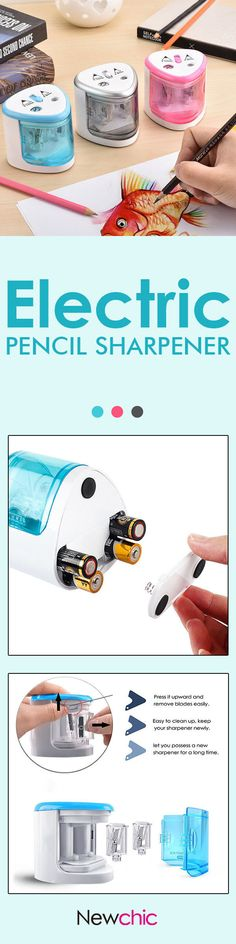 US$9.99--Electric Pencil Sharpener with 2 Replaceable Blades Battery Operated Automatic Pencil Cutter#newchic#student#stationary