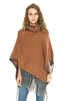 Back From Bali Mohair Wool knit Turtle neck poncho with fringe. Soft and  cozy fabric with geometric pattern looks modern and flattering. 131f0364d50