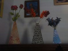 Origami flowers and vases