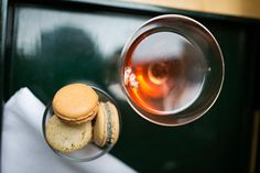 Bride's pre-wedding lunch - Ruinart pink champagne and Pierre Herme macarons.  Photograph © Chris Taylor Photo