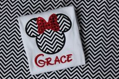 Custom Chevron Mickey or Minnie Mouse Appliqued T-Shirt or Onesie