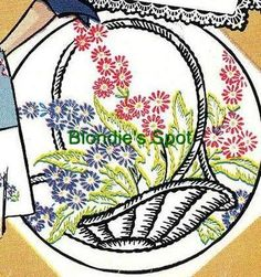 Vogart 201 Baskets of Flowers for Vanity Sets & Linens. A 1950s hand embroidery pattern.