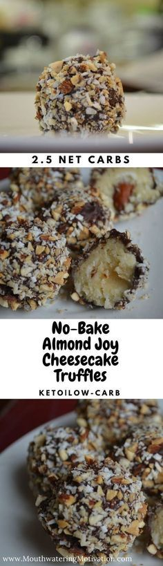 No-Bake Almond Joy Cheesecake Truffles ( Keto Low-Carb) Super easy to make and they taste delicious! No-Bake Almond Joy Cheesecake Truffles ( Keto Low-Carb) Super easy to make and they taste delicious! Almond Joy, Almond Flour, Almond Butter, Low Carb Deserts, Low Carb Sweets, Healthy Desserts, Healthy Food, Ketogenic Desserts, Desserts Sains