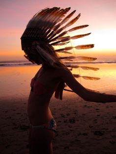 indian chief on the beach