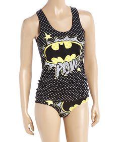 Black 'Pow' Batman Racerback Tank & Underwear - Juniors #zulily #zulilyfinds