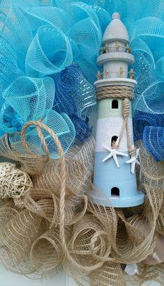 Designer Nautical Beach Coastal Mesh Wreath with Lighthouse Shells and Float | eBay
