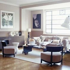 Muted Pink Art Deco Living Room