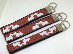 Scottie dog key fob, dog keyring, key wristlet, key chain, key holder, dog key fob, bag charm, key fob, gift for her, birthday gift by AwesomecraftsbyDg on Etsy