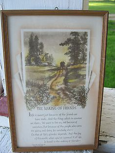 Vtg Antique BUZZA Motto Verse~The Making of Friends~Horse & Buggy~ Ex Cond~1927