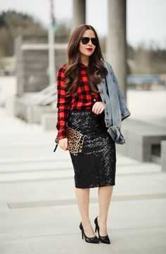 Trendy party outfit new years eve black sequins 31 ideas Chambray Outfit, Red Plaid Shirt Outfit, Plaid Outfits, Holiday Outfits, Skirt Outfits, Stylish Outfits, Bar Outfits, Vegas Outfits, Club Outfits