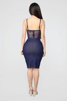 A Little Sexy Denim Midi Dress - Dark Indigo – Fashion Nova Tight Dresses, Sexy Dresses, Dress Outfits, Fashion Outfits, Prom Dresses, Black Girl Fashion, Curvy Women Fashion, Sexy Skirt, Dress Skirt