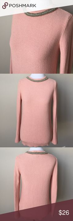 EUC Blush Pink Sweater w Rhinestone detailed neck Excellent used condition! Only worn a couple of times. Beautiful blush pink sweater with rhinestone detailed neckline from Forever 21.  The sweater is just absolutely beautiful!  100% cotton Forever 21 Sweaters Crew & Scoop Necks