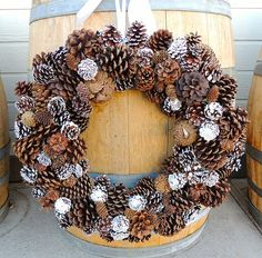Pinecone Wreath with White Tips by TaylordEventsSV on Etsy, $80.00