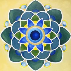 Blue Mandala Zen and Meditation Modern Mandala Mantra Oil