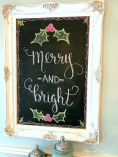 Merry & bright framed chalkboard