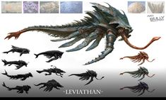 Leviathan concept by jacob atienza on ArtStation. Alien Creatures, Fantasy Creatures, Mythical Creatures, Sea Creatures, Kraken, Cthulhu, Leviathan Tattoo, Turtle Rock, Monster Fishing