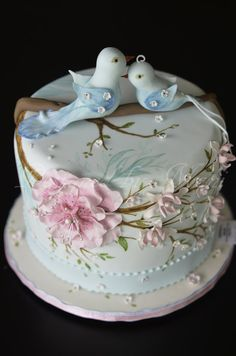 Hand Painted Love Birds Wedding Cake!