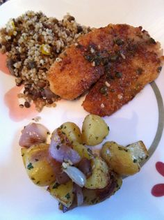 pan fried talapia with lemon, herb and caper sauce. Also tried out some roasted herb and garlic potatoes and onions