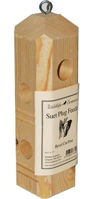 #Pine Plug Feeder.  Attractive Suet Plug feeder made of Pine. Designed to hold four Wildlife Sciences Suet Plugs. Ships complete with heavy duty eye screw hanger.  #suetfeeder #birdfeeder