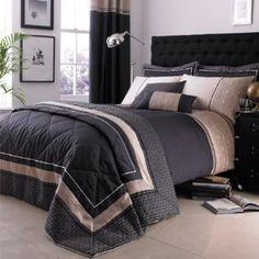 Catherine Lansfield Luxury Geo - Funda nórdica y 2 fundas de almohada (260 x 220 cm y 50 x 75 cm), color gris y crema