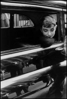 "{Audrey Hepburn} filming of ""Sabrina"", NY, 1954. photographer Billy Wilder"