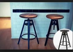 Ikea bar stool hack - screw onto seat a larger circle of wood and stain.