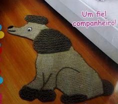 Tapete de Crochê em Formato  de Cachorro