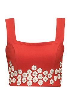 Red floral embroidered crop top by Ridhi Mehra. Shop now: www.perniaspopups.... #croptop#ridhimehra#cute#clothing #shopnow #perniaspopupshop #happyshopping