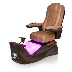 Infinity pedi-spa shown in Cappuccino Ultraleather cushion, Mocha base, Aurora LED Color-Changing bowl (shown in purple)
