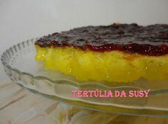Receitas - Tarte de queijo gruyère com cobertura de doce de framboesa - Petiscos.com
