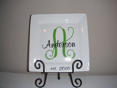 Personalized wedding gift Monogram name plate by twochicksgiftshop, $18.50